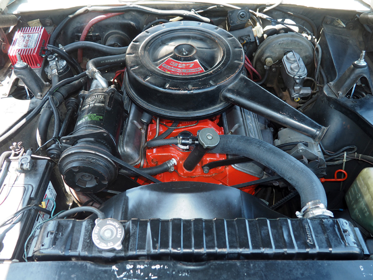 The 275-hp 327-cid V-8 has been rebuilt once in its 190,000 miles. Young bought the aluminum Corvette valve covers at a Chevy dealership years ago since the original steel valve covers leaked oil.