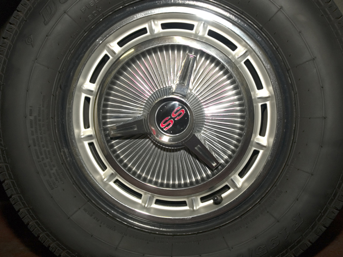 The lug nut holes in the original wheels have been enlarged from the miles, so Young can no longer run the original wheels, but he's kept them and the original SS wheel covers.