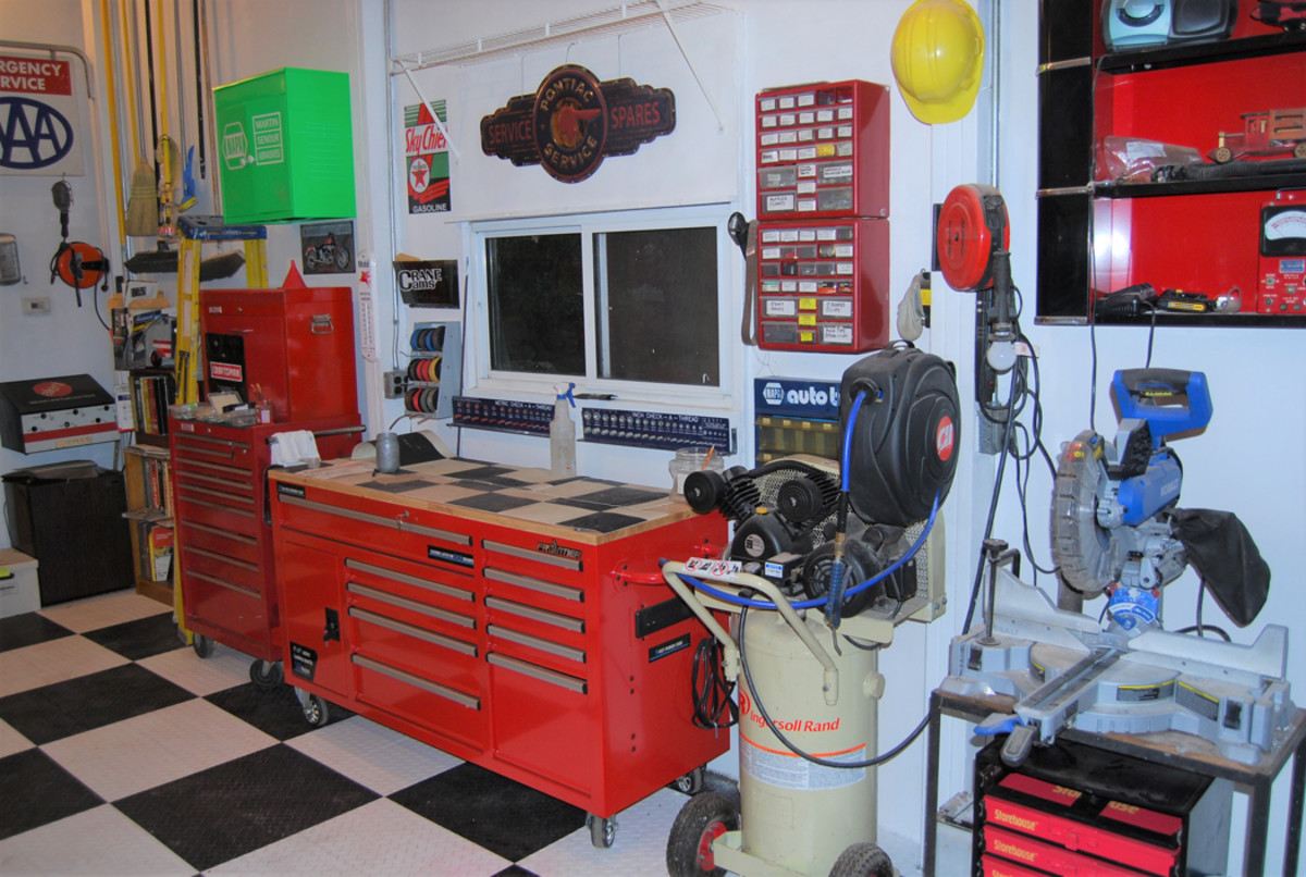 Tool cabinet from Wal Mart; stainless Pontiac sign came from Greg's Speed Shop.