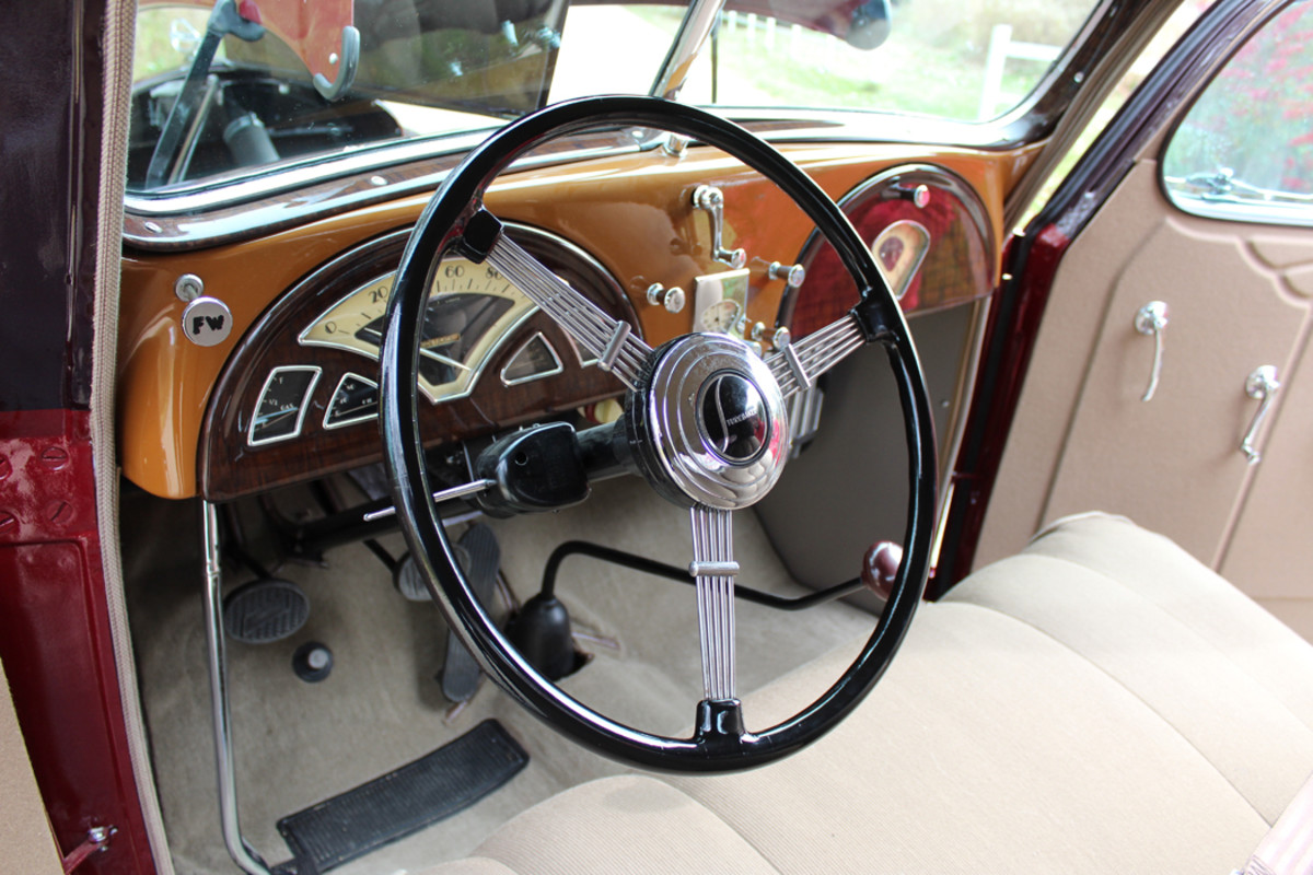 The fancy Art Deco interior is complete with optional Phantom steering wheel and has a style similar to Packards of the era.