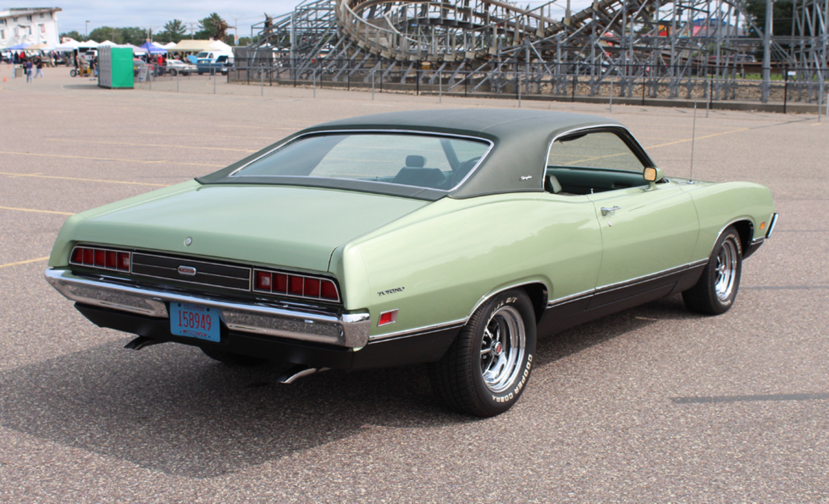 The Brougham was the classy,  refined member of the Torino  family. Mike Brittnacher's 1971 has been freshened and  repainted, but remains a  mostly original specimen  that is easy to admire.