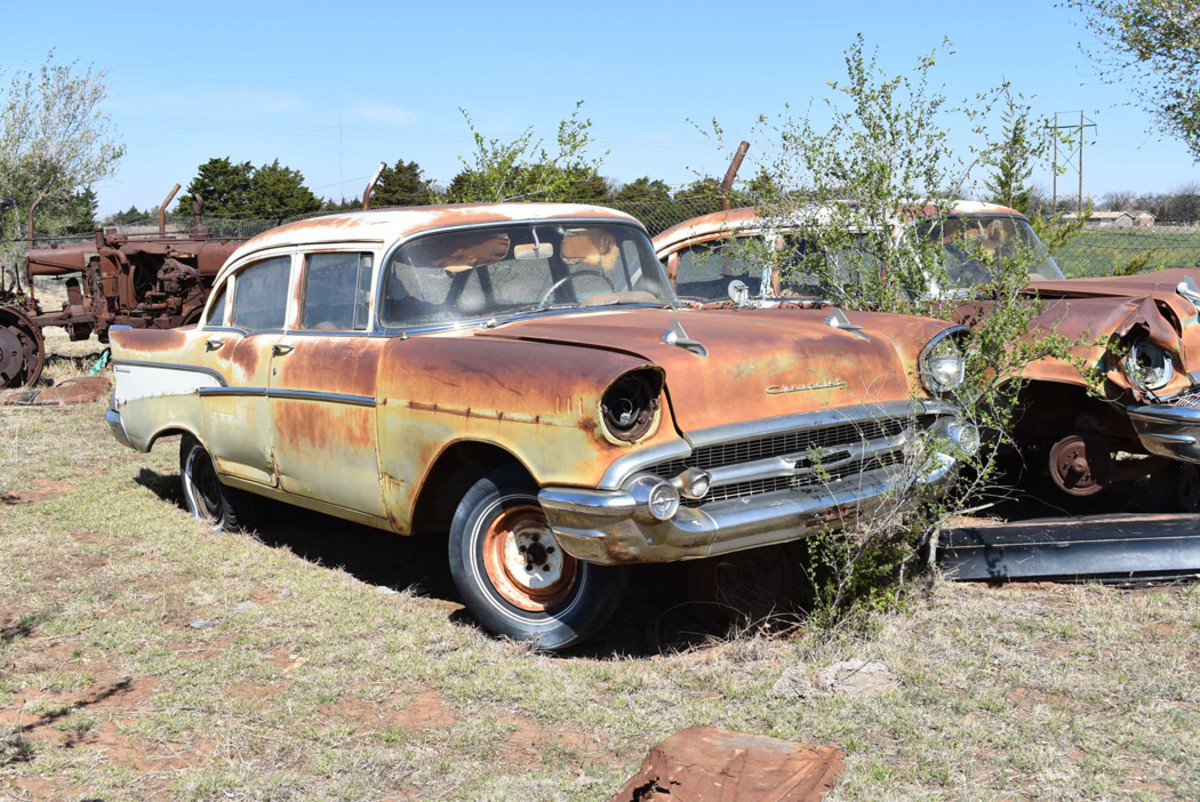 One of several 1957 Chevrolets we found at Owens Salvage. There's also plenty of 1957 Chevy body and trim parts, too.