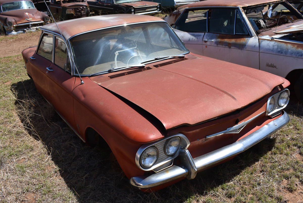 Both parts and project Chevrolet Corvairs were found at Owens Auto Salvage, including the 1961 sedan.