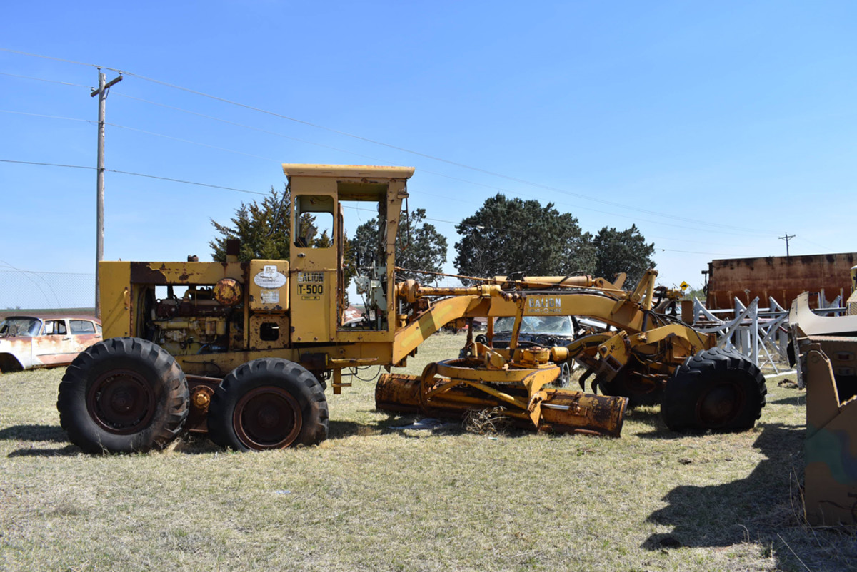 If you are looking for something totally different, next door to Flattop Bob's salvage yard is his father's business where you can find unique machines such as this early-1970s Galion T500-S road grader.