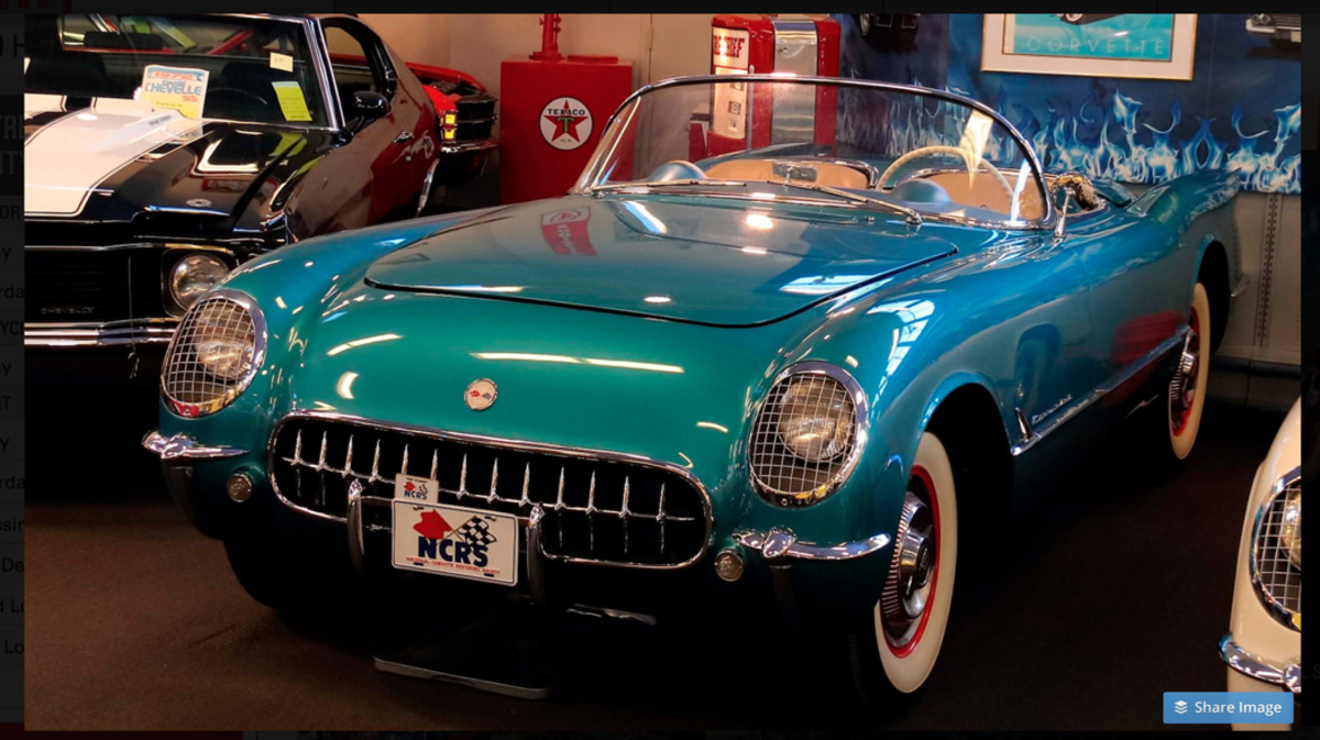 1954 Chevrolet Corvette in Pennant Blue is one of the 200-plus cars from the Muscle Car City Museum in Punta Gorda, Fla., that is selling at no reserve.