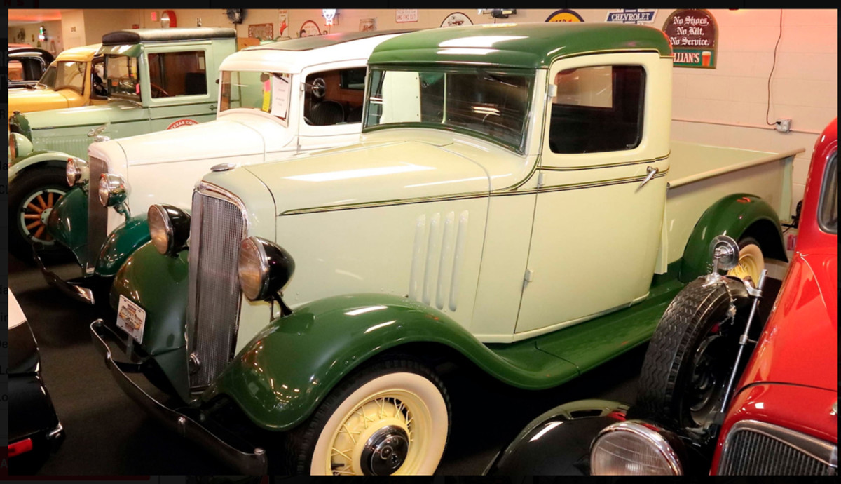 Although touted as a muscle car museum, there are many prewar Chevrolet cars and trucks in the collection including this 1935 pickup truck; the collection also touts a very rare first-year Suburban.