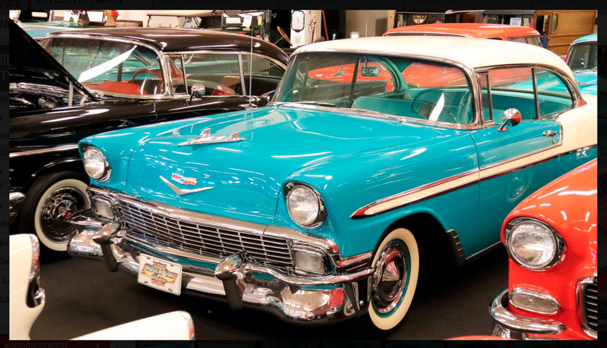 Dual four barrels became optional on full-size Chevys later in the 1956 model year, and this Bel Air Sport Coupe is so equipped.