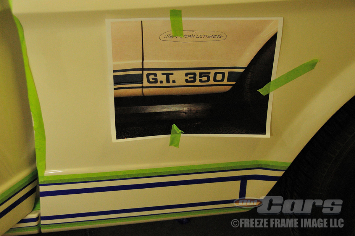 """The racing stripe layout process incorporated an illustration showing the proper location and spacing of the """"G.T. 350"""" logo."""