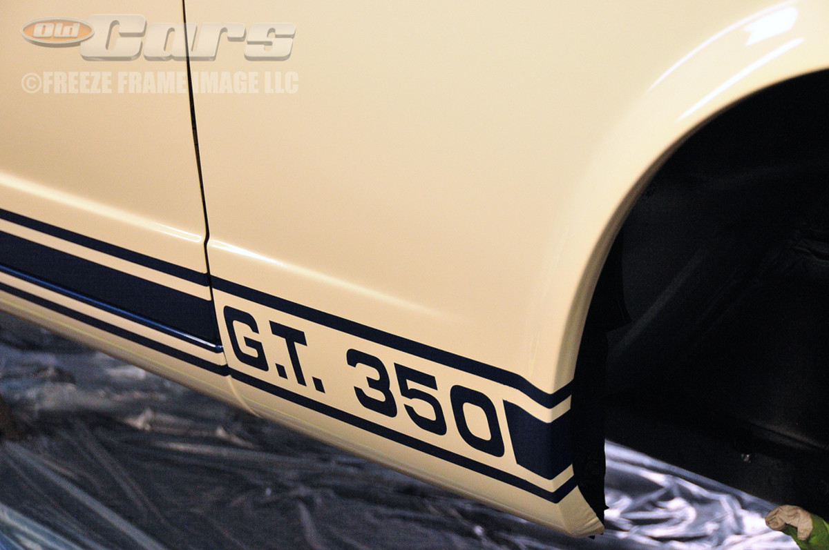 The Guardsman Blue paint stripes and graphics hand-applied by Jason Billups and Skeeter White at Billups Classic Cars in Colcord, Okla.