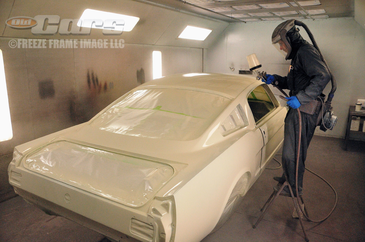 Skeeter White applies the RM UNO Wimbledon White single-stage paint to the 1965 GT350 003 Shelby Mustang at Billups Classic Cars in Colcord, Okla.