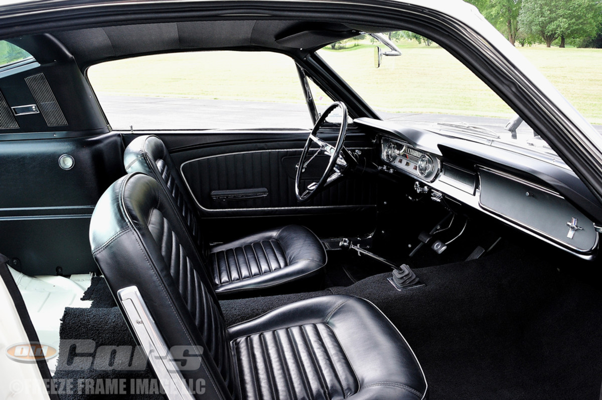 BEFORE SHELBY GT350 - The perfectly restored high-performance Mustang interior. Note the absence of a rear seat and carpeting, as this is how the cars were delivered to Shelby.