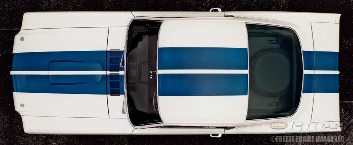 With the help of Mike Trusty, overhead drone views show the first Shelby GT350 in both Ford and Shelby form.