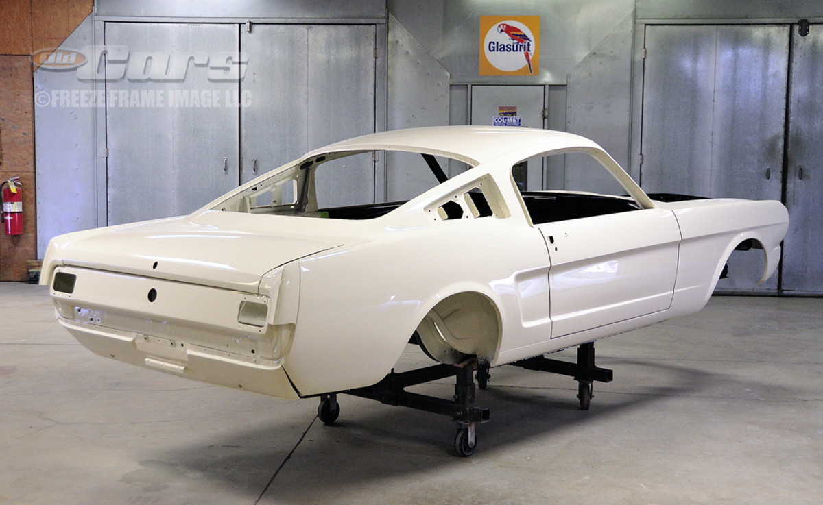 RM UNO Wimbledon White single-stage paint on the 1965 GT350 003 Shelby Mustang body shell at Billups Classic Cars in Colcord, Okla. From here, the car was shipped back to North Carolina on this special dolly to be assembled to Ford Motor Co. factory form as it was built in San Jose as a high-performance K-code Mustang.