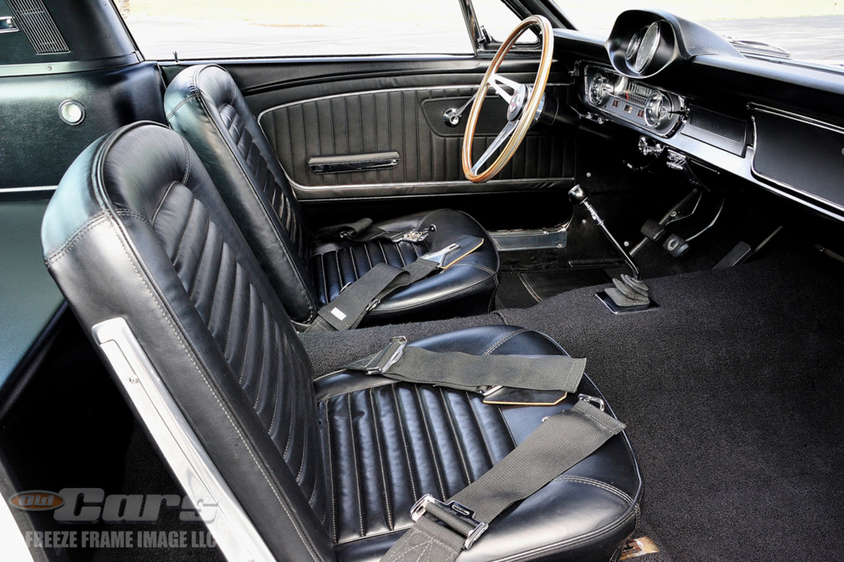 AFTER SHELBY 350GT - Note the wide lap belts and the pod atop the instrument panel containing an oil pressure gauge and tachometer inside the interior of Shelby GT350 003.