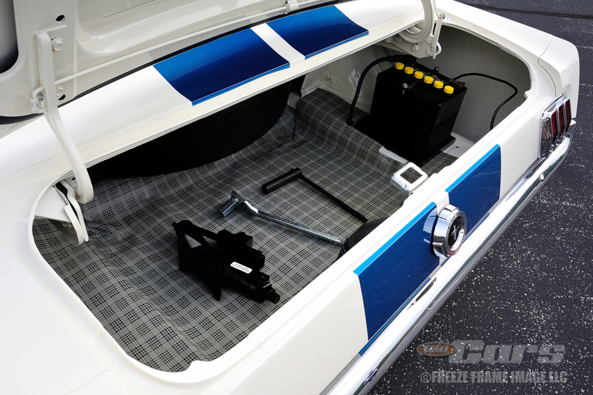 The GT350 conversion included moving the spare tire to behind the front seats. The battery was also moved to the trunk for improved weight transfer.