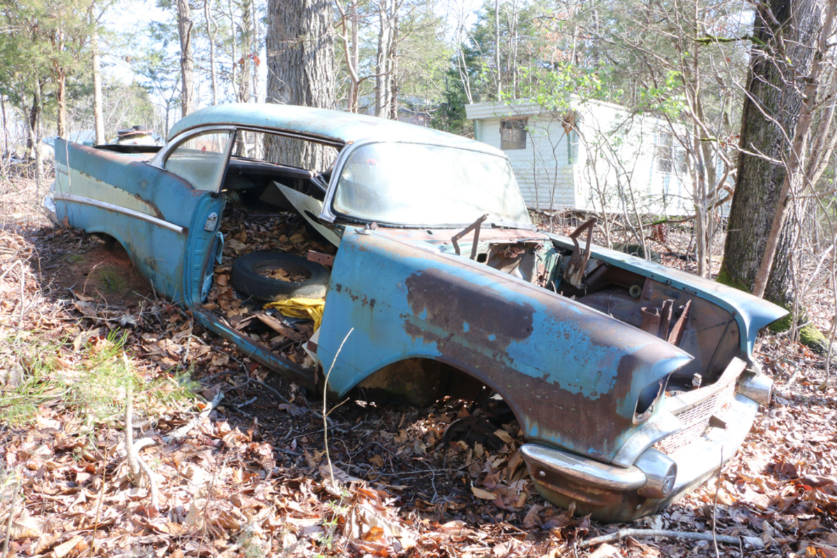 You can count on seeing '57 Bel Air hardtops at every car show you go to, but when is the last time you saw a Two-Ten two-door hardtop? This one has rusty floors and the engine is long gone. The body plate shows that it was originally painted a beautiful Harbor Blue and Larkspur Blue two-tone.