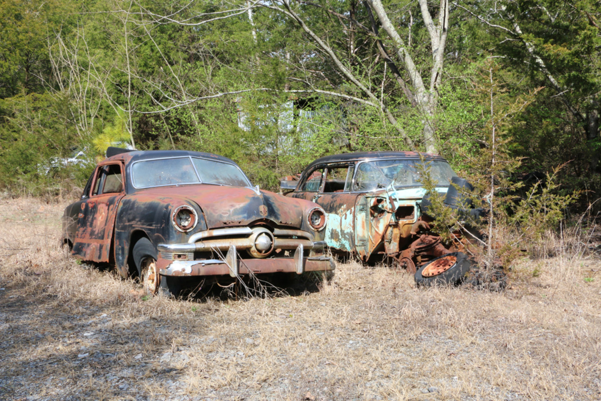 There are several shoebox Fords available for parts including this '50 model parked beside a '55 Fairlane. Nearby, there is a '50 Crestliner with intact trim.