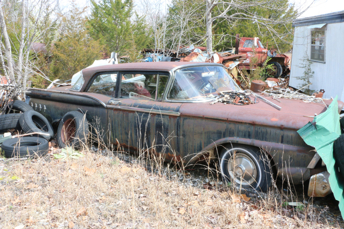 """This 1959 Ford has the optional $32 Custom 300 ornamentation package which includes chrome """"Flying Darts"""" on the rear quarter panels and """"Tee Ball"""" ornaments on top of the front fenders."""