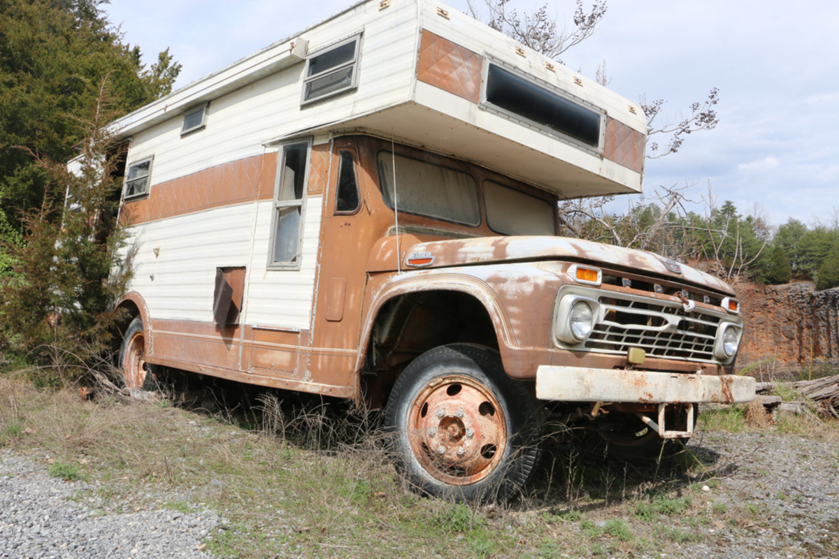 If you restored this '66 Ford motor home, you'd be right in style at the next car show/swap meet and would have comfortable overnight accommodations on site. There are other available motor homes in the yard, too.