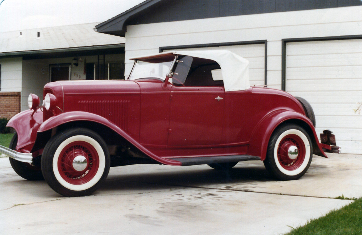 The 1932 Ford roadster in red, as it appears today.