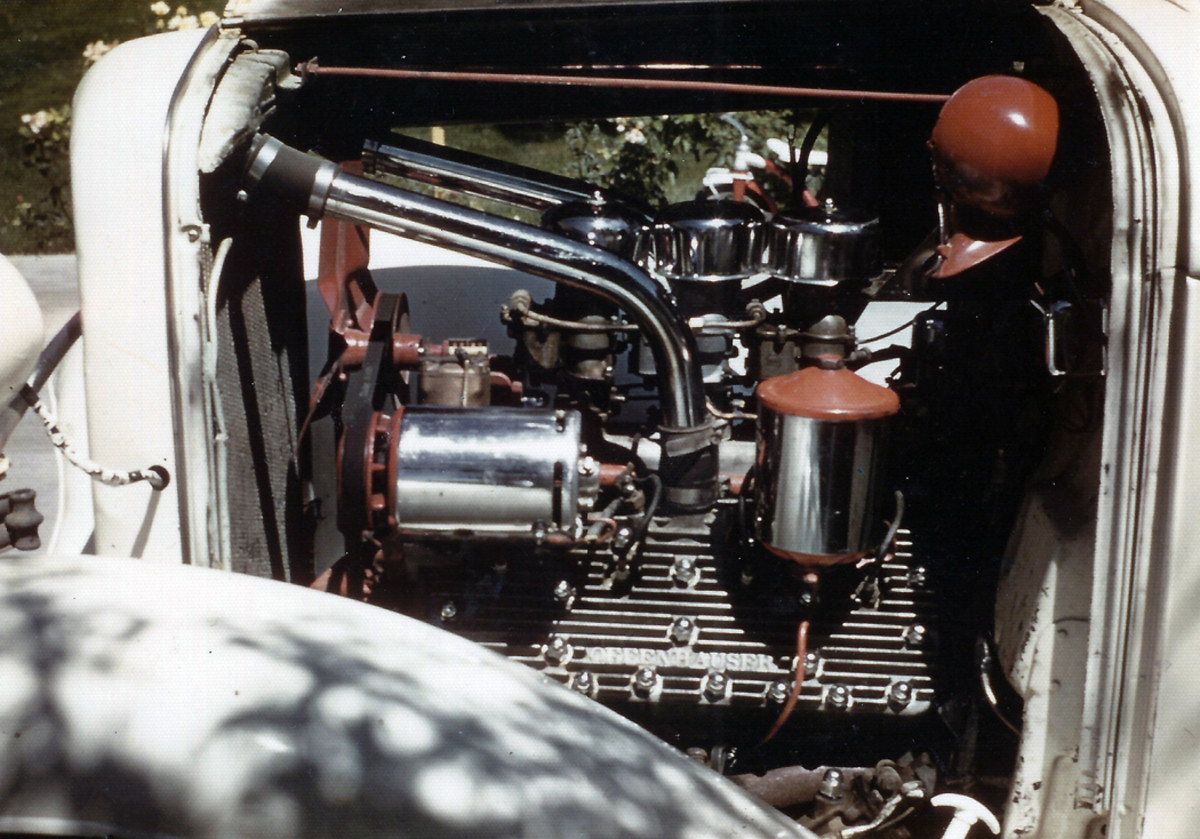 The built flathead that was originally installed in the hot rod.