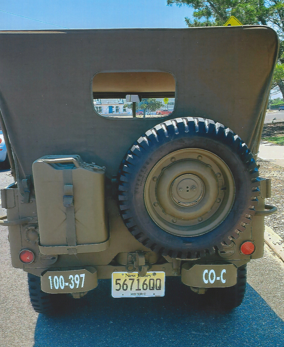 During their military service, GPWs were fitted with a rear-mounted spare tire and removable tank.