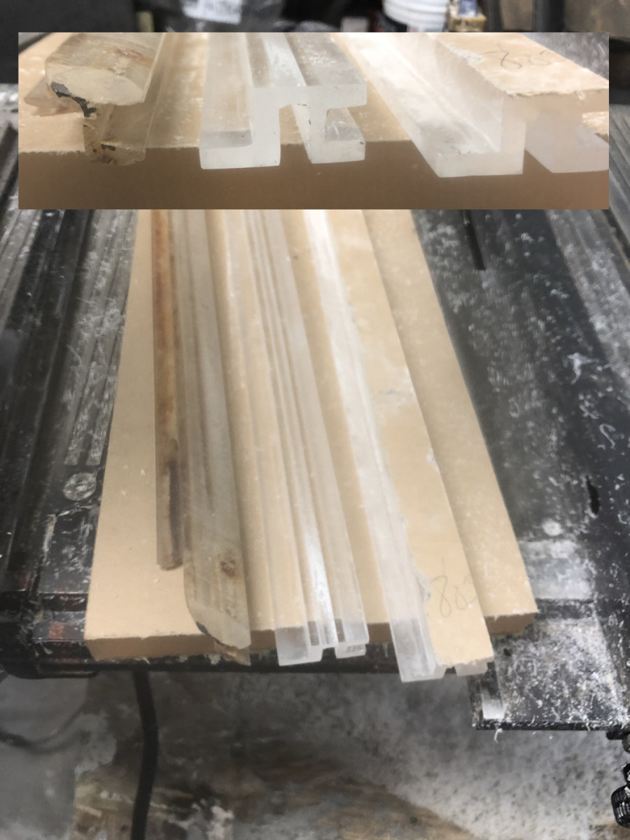 """Here are the two rough-cut pieces that make up the support/trim area circled in the above photo of the Cruiser. The grooves and all edges needed to be sanded and polished to be """"clear as glass."""