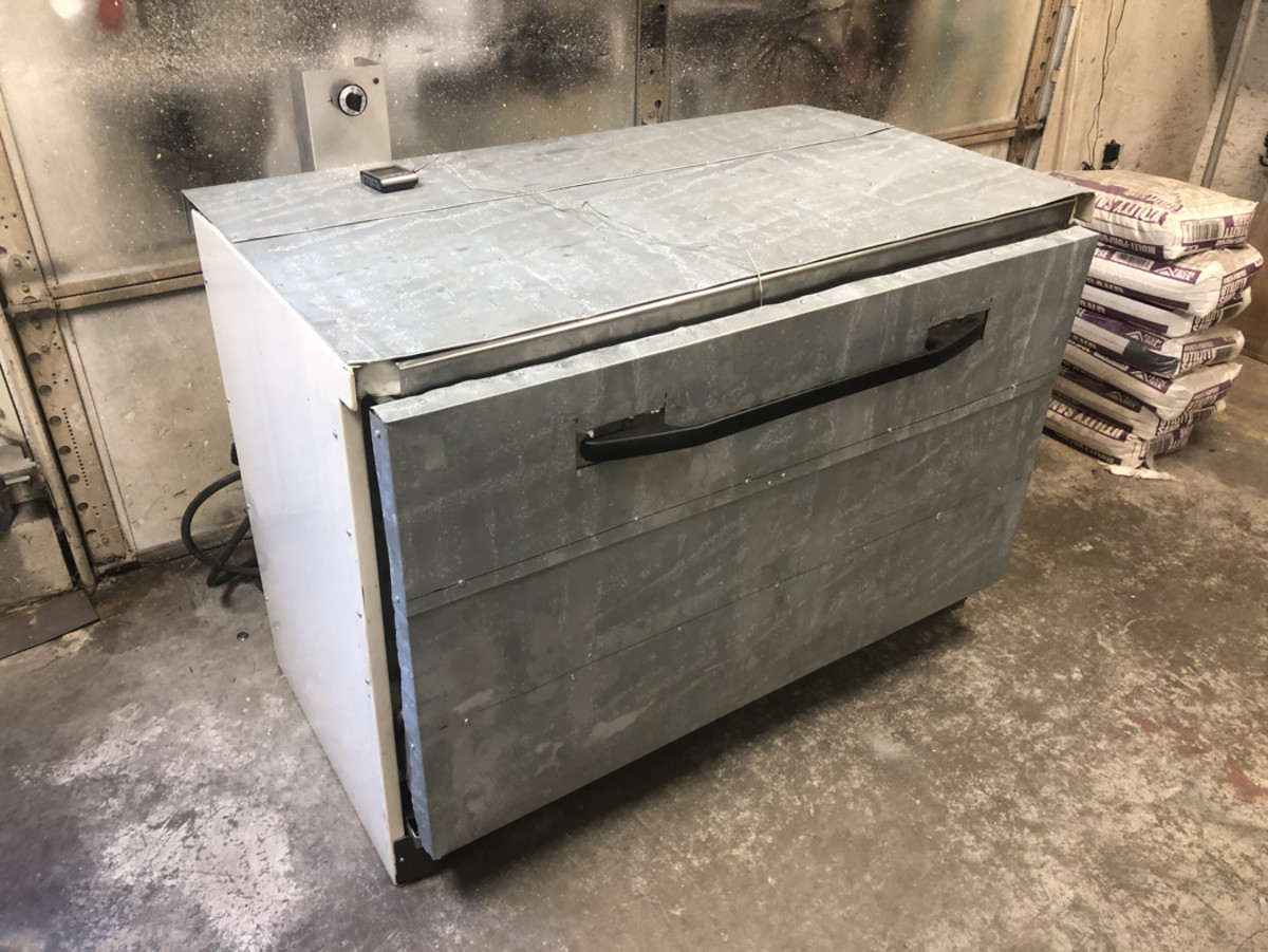 Here is a stripped-down electric range ready for the acrylic panels.