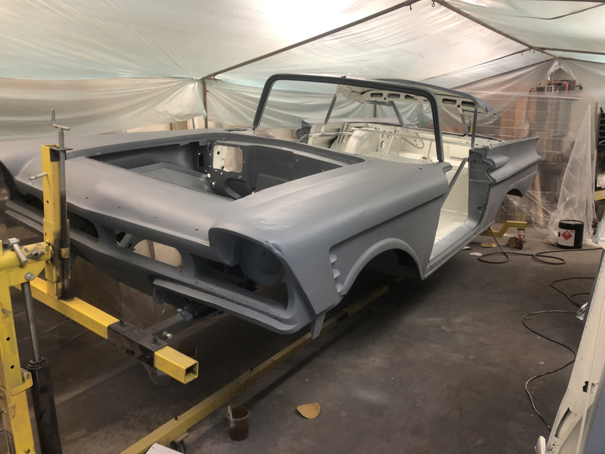 I sprayed the interior with KBS Coatings rust proofing paint and that will be the finished interior color. Every bit of the interior will be covered with carpet, panels and headliner so the color doesn't matter.