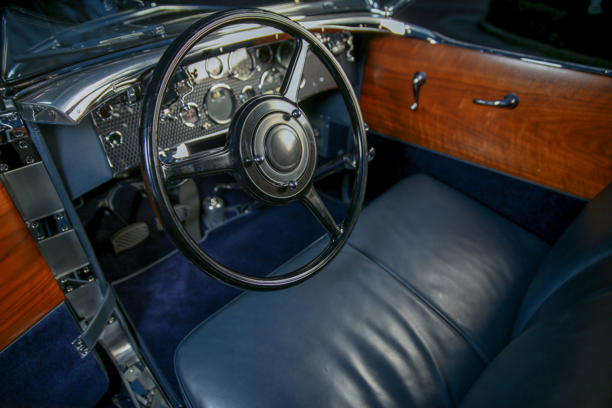 Blue interior complements the fender color.