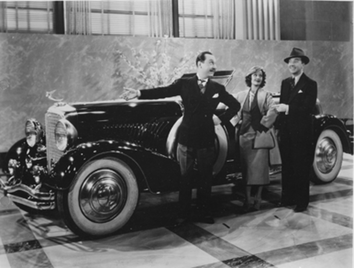 """Murphy Torpedo convertible coupe with chassis 2199 appeared in this scene of the 1937 film """"She Had to Eat"""" alongside Rochelle Hudson and Jack Haley. It also appeared in the 1938 film """"Red River Range."""""""