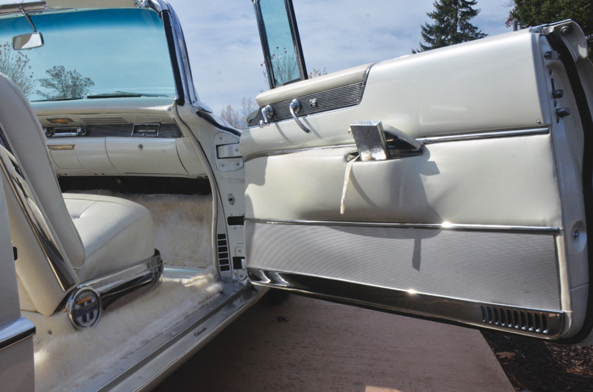"""One of the most challenging parts of building this Eldorado into the """"St. Moritz"""" was building a space for the Evans compact into the door panel."""