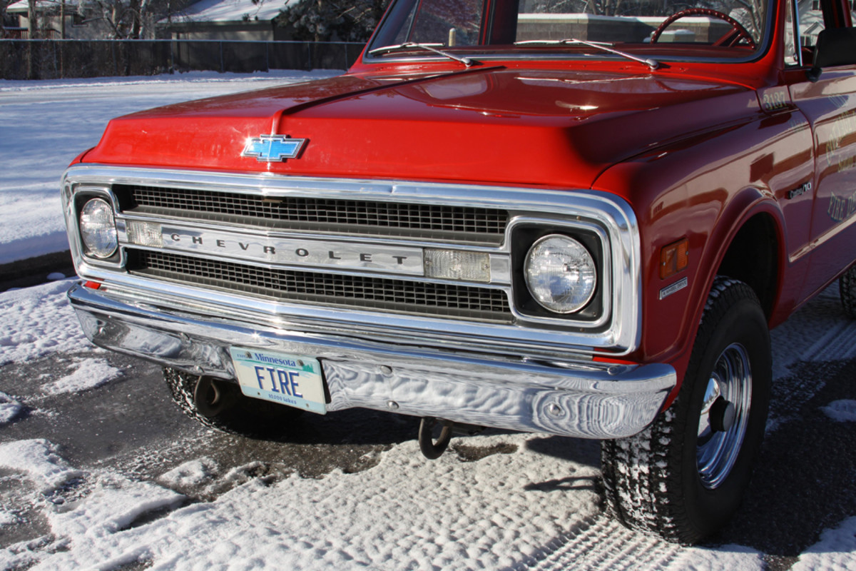 The K/10 is well-outfitted with the chrome front bumper and bright grille.