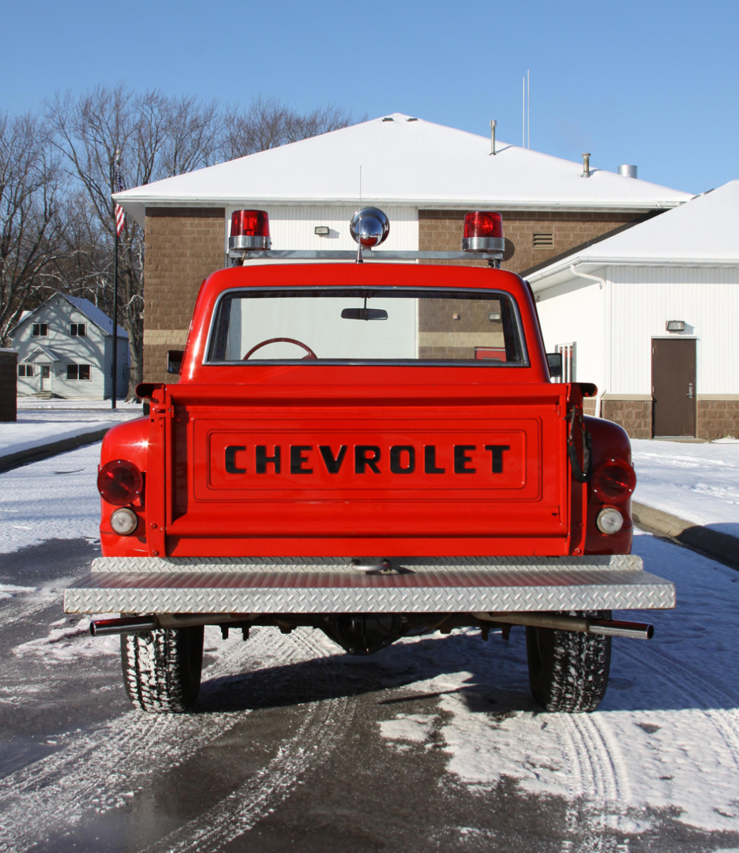 The K/10 once had a rack in the bed for firemen to hang onto when driving to brush fires, but it was removed in its early-1990s repaint. Besides its paint and chrome wheels, the truck is in original, unrestored condition.