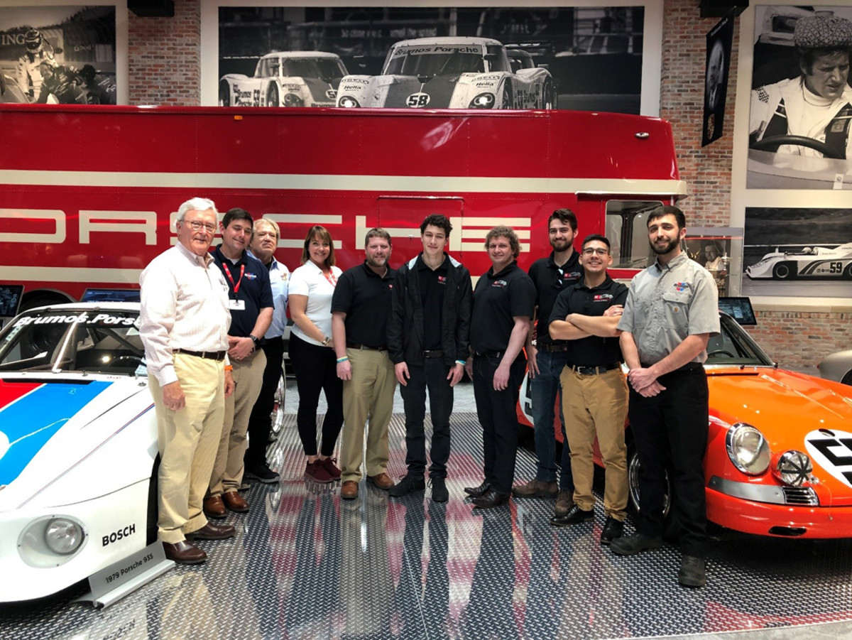 Pictured from left: Dano Davis, and his team at the Brumos Collection with Brian Martin, director of Automotive Restoration Projects at McPherson College; and students Daniel Journey, Tim Lauring, Kevin Boeckman, Gerardo Menez, Jr.; and Aaron Israel, 2018 graduate of McPherson College and assistant manager at the Brumos Collection.