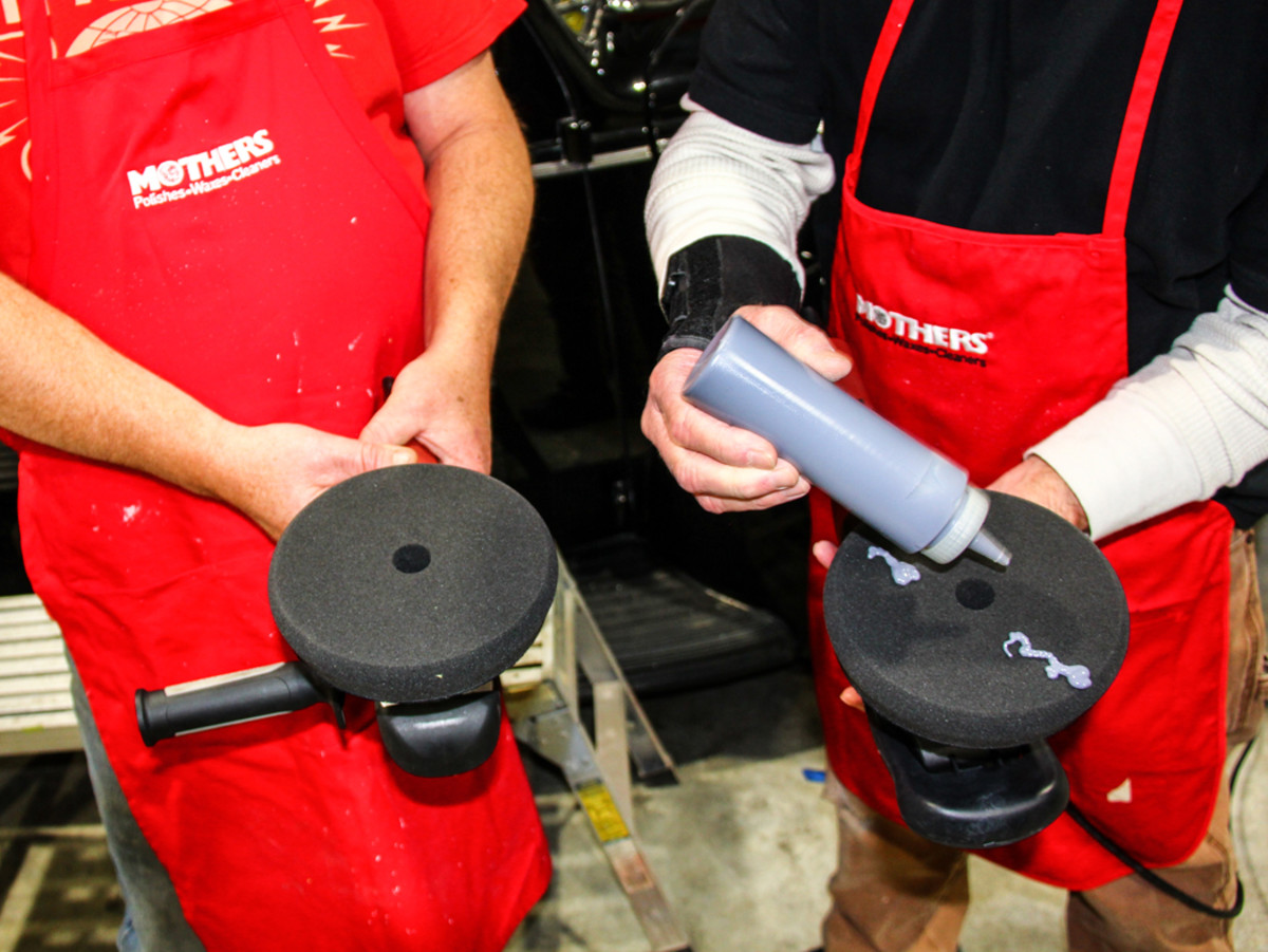 The next step involves Mothers Professional Foam Pad Polish and compatible Finishing Force pads from Lake Country. For this, we'll use dual-action buffers.