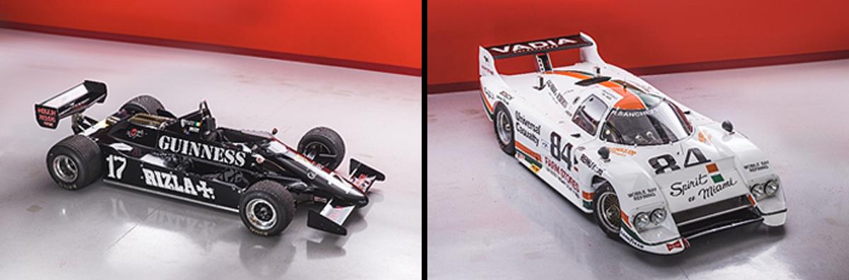 "LEFT: 1981 March 811 Formula 1 RIGHT: 1983 March-Chevrolet 83G IMSA GTP ""Spirit of Miami"""