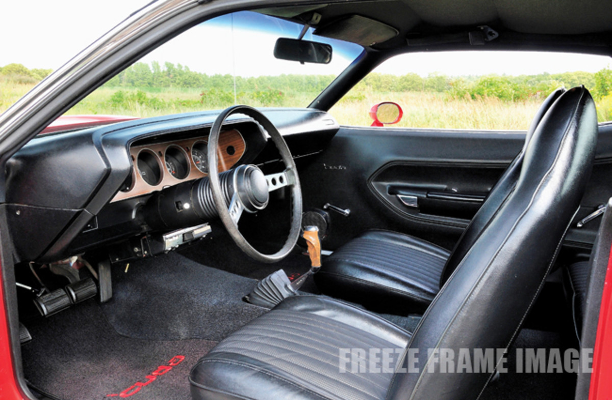 The original interior features the J97 Rallye Cluster that included a tach, clock, oil pressure gauge, trip odometer and 150-mph speedometer. The Rallye Cluster was priced at $75.65.
