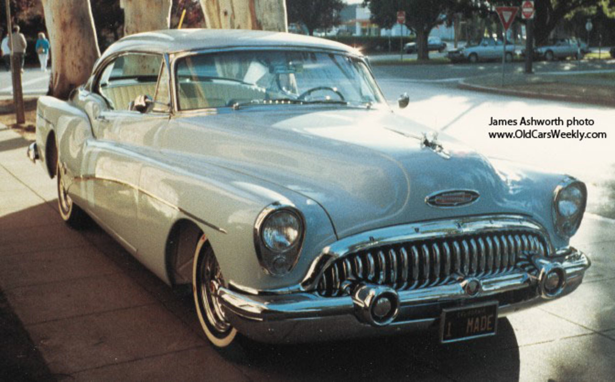 A ca.-1990 front view of the 1953 Buick Skylark hardtop after James Ashworth restored it.