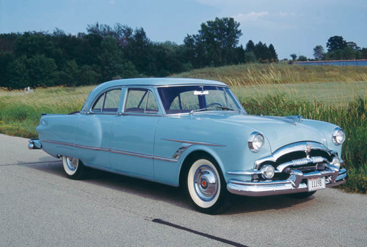 The self-parking Packard doesn't look much different than any other 1953 Cavalier sedan, but trained eyes realize, even from this angle, that the continental kit is longer than most.