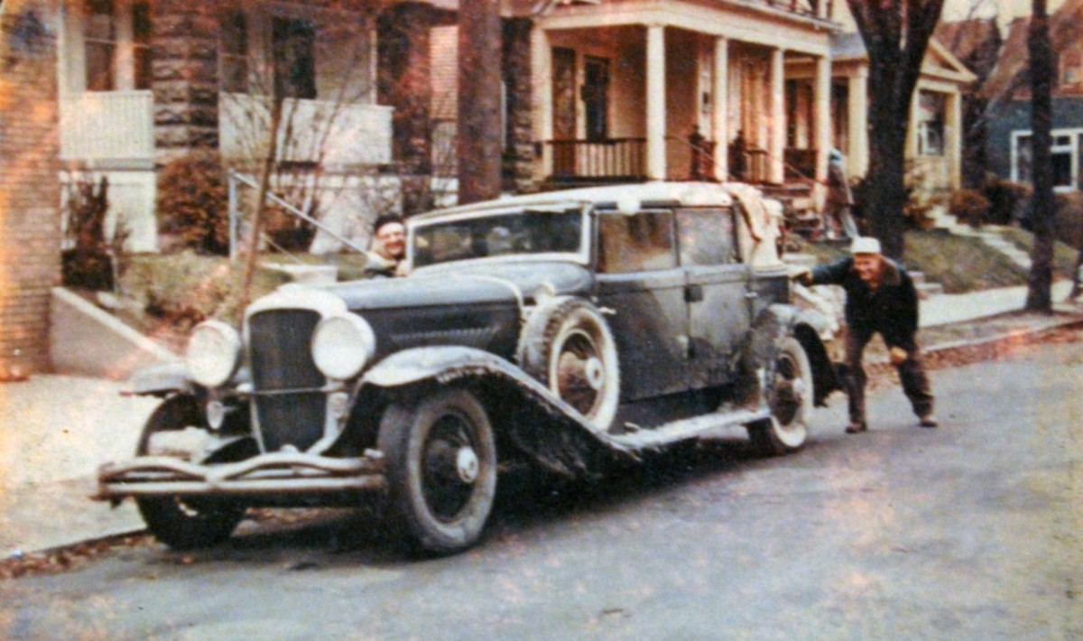 Kaufmann drove this car to Wisconsin in a snow storm for Ray Wolff, then he purchased it from Wolff. It's shown covered with ice and snow upon its arrival in Wisconsin.