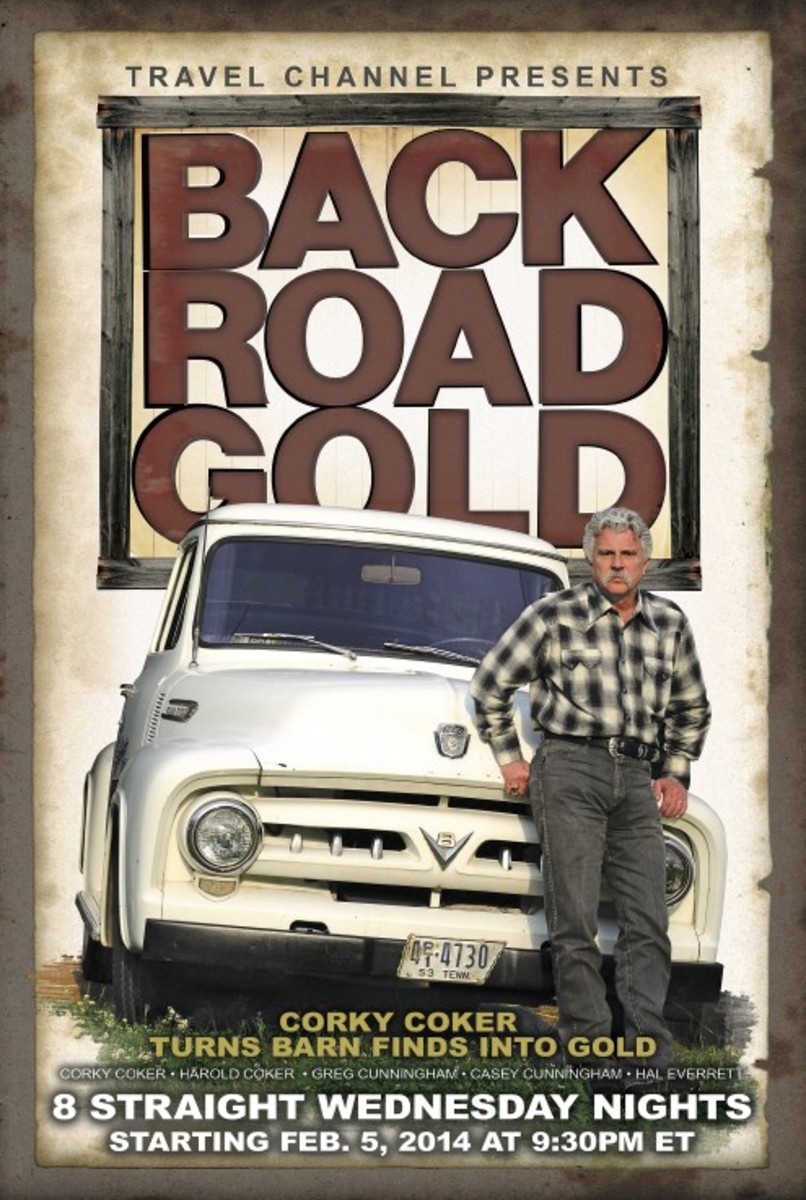 "Promotional poster for ""Backroad Gold"" featuring Corky Coker."