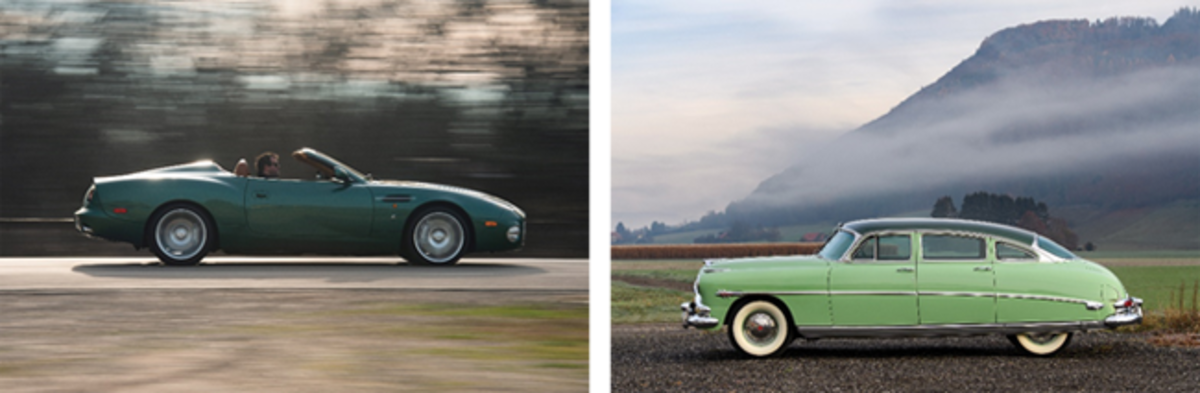 LEFT: 2003 Aston Martin DB AR1 Zagato, Retro Motors Collection (© 2019 Courtesy of RM Auctions)RIGHT: 1953 Hudson Hornet Sedan, A Private Swiss Collection (Tim Scott ©2018 Courtesy of RM Auctions)