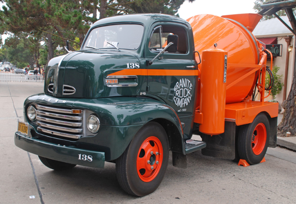 Not only sleek sports cars, but a few trucks could also be found at the Carmel-by the-Sea Concours such as this fully restored 1950 F6 Ford cement truck.