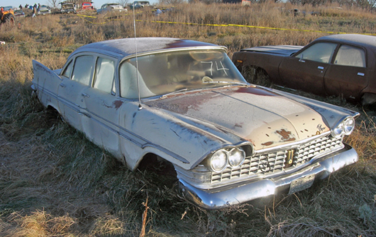 One of four 1959 Plymouths offered at the Lende Collection Auction in Walum, N.D., this Fury sedan received no offers, nor did its three counterparts, and all were relegated to the crusher.