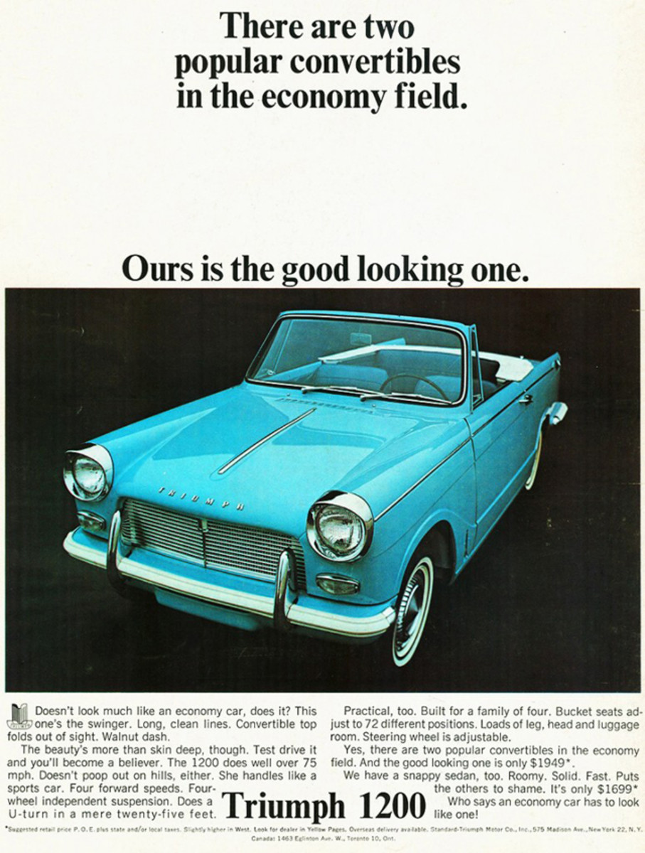 "The Triumph 1200 was called a compact ""swinger"" in this ad. Top-down fun wouldn't have been that appealing for most in December, however."