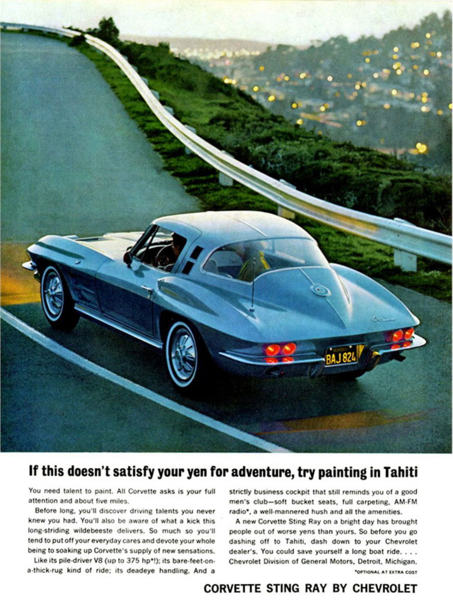 "The Corvette faced a steep challenge with an encore for the wildly popular 1963 models. This ad showed that the ""split-window"" on the coupe was gone for '64, making it easier to see Santa Claus out the rear window."