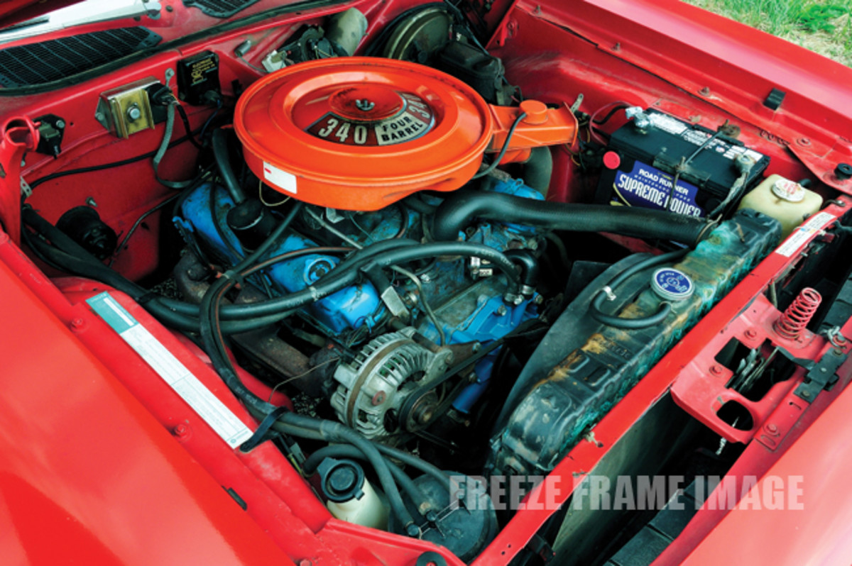 The code E55 four-barrel 340-cid small-block was the most powerful engine available in a 'Cuda for 1973, and it had 240 gross horsepower. It was a $181.25 option.