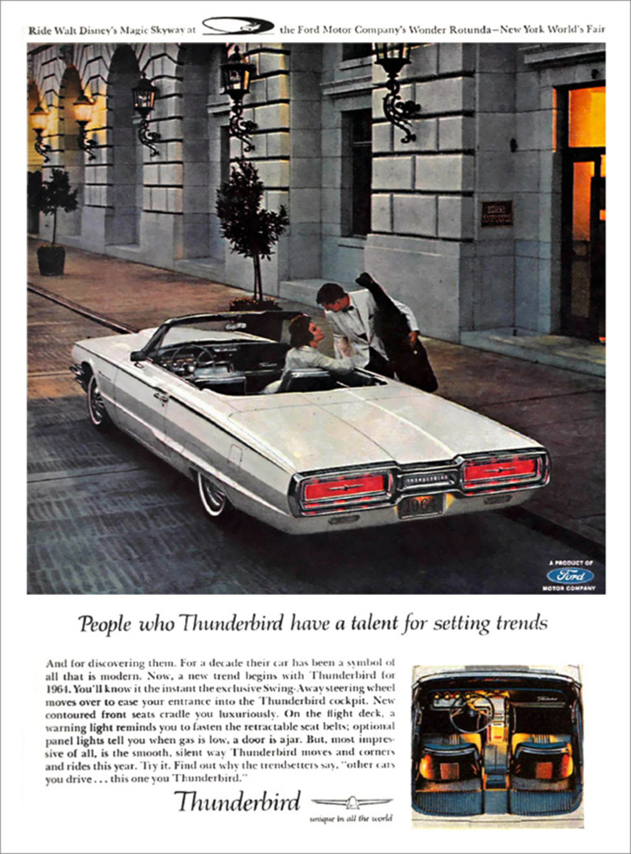 The redesigned Thunderbird's new flair and rectangular tail lamps were shown off in this late-1963 ad. With these lines, the handsome new 1964 Ford would sure get a buyer noticed.