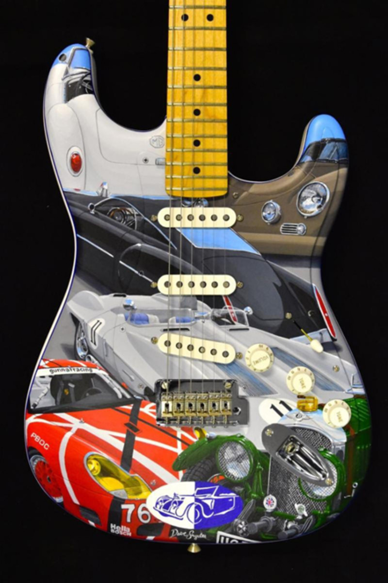 The one-of-a-kind guitar features cars owned or closely related to rock stars